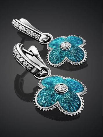 Серебряные серьги с голубой эмалью и кристаллами «Наследие», фото , изображение 2