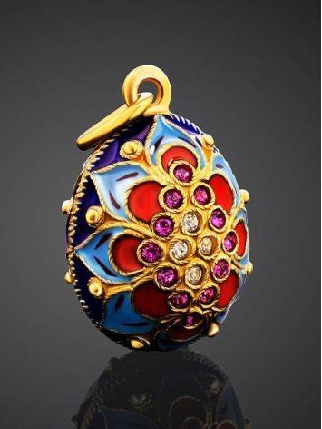 Яркое яйцо-шарм с эмалью и фианитами Romanov, фото , изображение 2