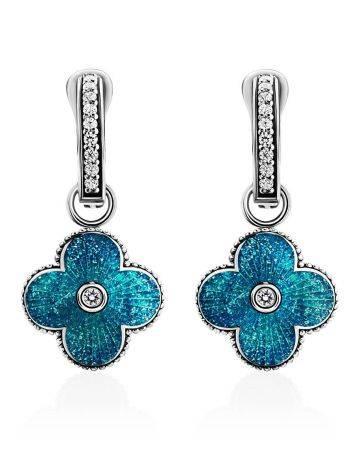 Серебряные серьги с голубой эмалью и кристаллами «Наследие», фото