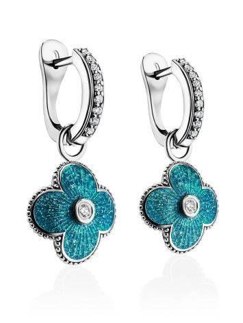 Серебряные серьги с голубой эмалью и кристаллами «Наследие», фото , изображение 3