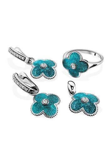 Серебряные серьги с голубой эмалью и кристаллами «Наследие», фото , изображение 4