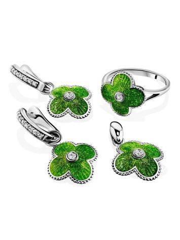 Яркие серебряные серьги с подвесками-четырехлистниками «Наследие», фото , изображение 4