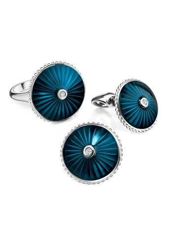 Серебряные серьги-гвоздики с эмалью и бриллиантами «Наследие», фото , изображение 3
