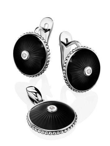 Круглые серьги с черной эмалью и бриллиантами «Наследие», фото , изображение 3