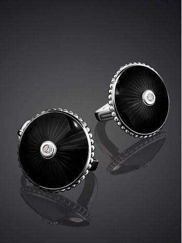 Круглые серьги с черной эмалью и бриллиантами «Наследие», фото , изображение 2