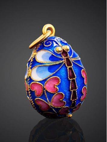Яйцо-шарм с разноцветной эмалью и изображением стрекозы Romanov, фото , изображение 2