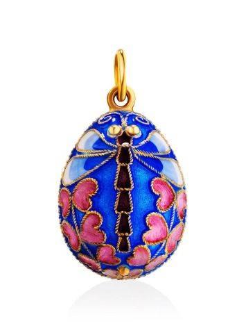 Яйцо-шарм с разноцветной эмалью и изображением стрекозы Romanov, фото