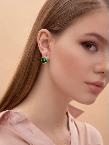 Серебряные серьги с зеленой эмалью и бриллиантами «Наследие», фото , изображение 4
