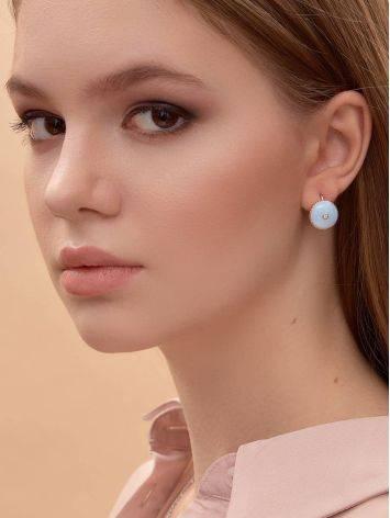 Нежные серебряные серьги с бриллиантами и эмалью «Наследие», фото , изображение 4