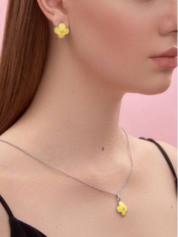 Серебряные серьги с лимонной эмалью и бриллиантами «Наследие», фото , изображение 4