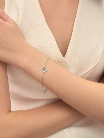 Стильный серебряный браслет на цепочке с фианитом Enigma, фото , изображение 5