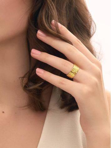 Широкое стильное кольцо из позолоченного серебра с необычной фактурой Liquid, Размер кольца: б/р, фото , изображение 5