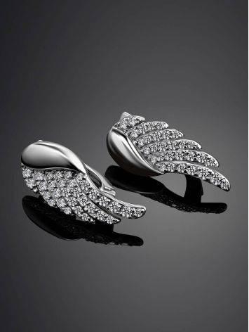 Серьги-крылышки из серебра с фианитами, фото , изображение 2