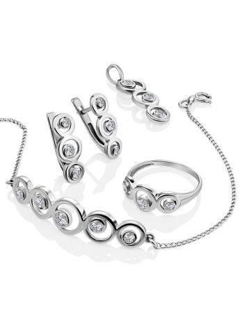 Браслет-цепочка из серебра с геометричным элементом, фото , изображение 4