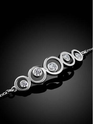 Браслет-цепочка из серебра с геометричным элементом, фото , изображение 2