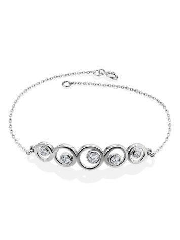 Браслет-цепочка из серебра с геометричным элементом, фото