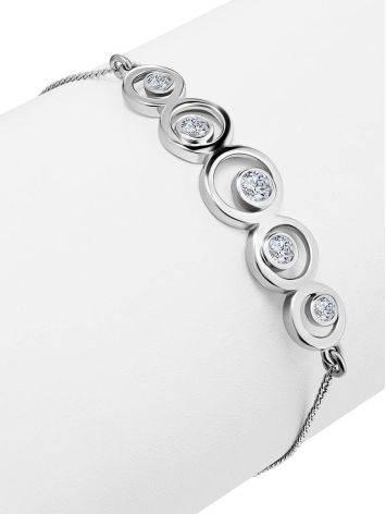 Браслет-цепочка из серебра с геометричным элементом, фото , изображение 3