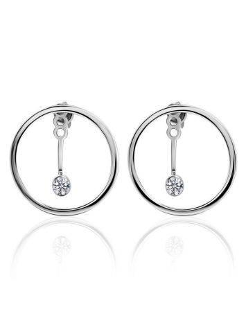 Серебряные серьги-гвоздики с кристаллами в необычном дизайне, фото