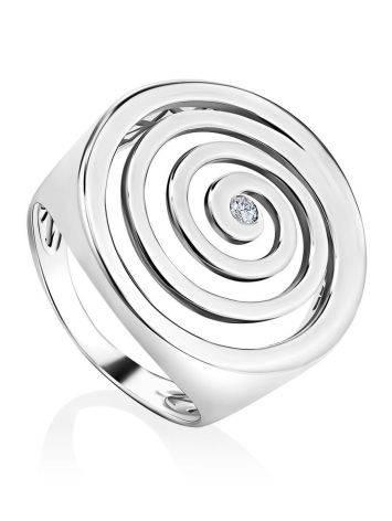 Крупное серебряное кольцо с кристаллом Enigma, Размер кольца: 17, фото