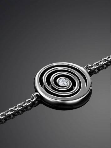Стильный серебряный браслет на цепочке с фианитом Enigma, фото , изображение 2