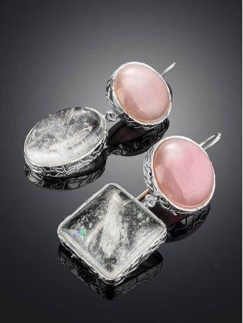 Нежные сияющие серьги Bella Terra из серебра и природных минералов, фото , изображение 2