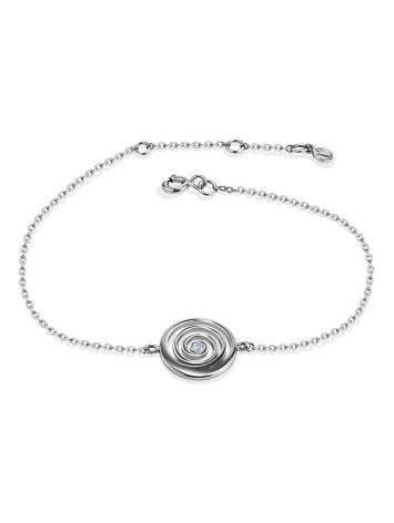 Стильный серебряный браслет на цепочке с фианитом Enigma, фото