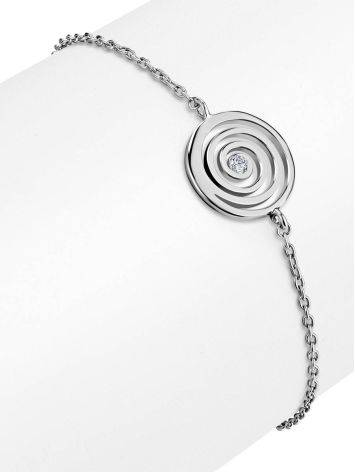 Стильный серебряный браслет на цепочке с фианитом Enigma, фото , изображение 3