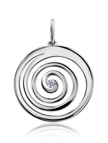 Круглый кулон из серебра с фианитом Enigma, фото
