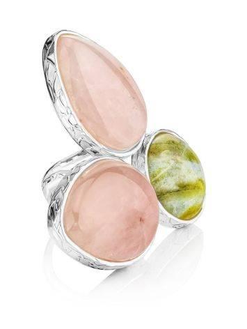 Красивое женственное кольцо с виоланом и розовым кварцем Bella Terra, фото
