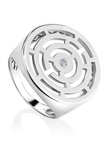 Объемное серебряное кольцо в форме лабиринта Enigma, Размер кольца: 17, фото