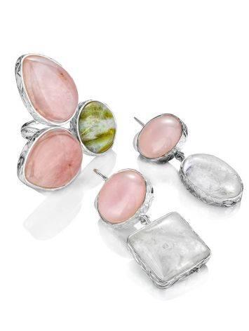 Нежные сияющие серьги Bella Terra из серебра и природных минералов, фото , изображение 7