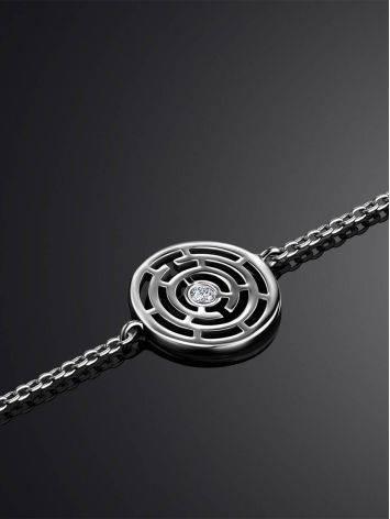Тонкий браслет из серебра с фианитом Enigma, фото , изображение 2