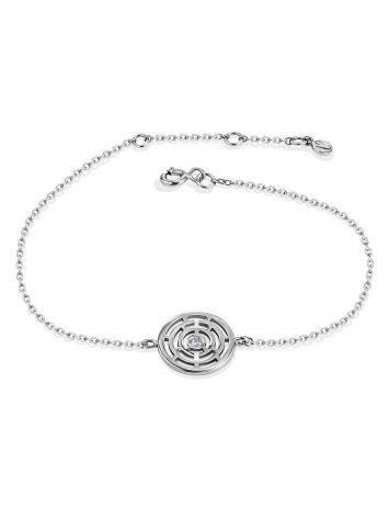 Тонкий браслет из серебра с фианитом Enigma, фото