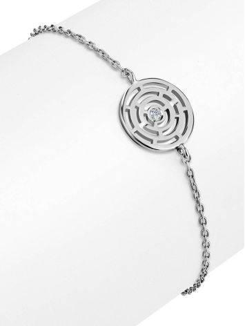 Тонкий браслет из серебра с фианитом Enigma, фото , изображение 3