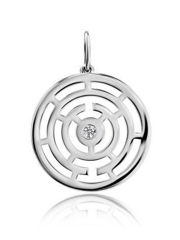 Круглый серебряный кулон с фианитом Enigma, фото