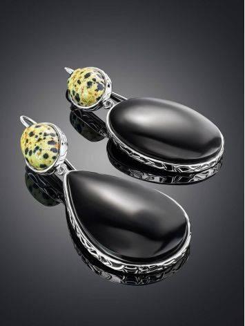 Крупные асимметричные серьги из серебра с агатом и яшмой Bella Terra, фото , изображение 2