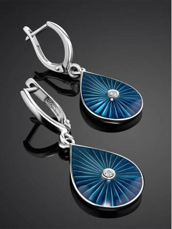 Удлиненные серебряные серьги с эмалью гильош и бриллиантами «Наследие», фото , изображение 2