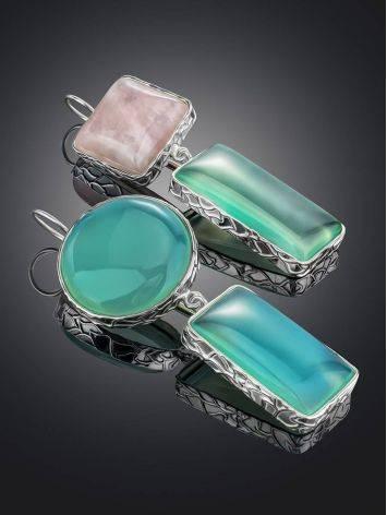 Асимметричные серьги Bella Terra из серебра и природных самоцветов, фото , изображение 2