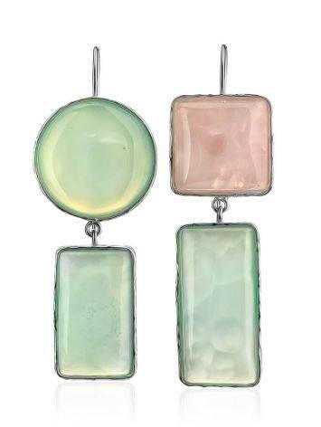 Асимметричные серьги Bella Terra из серебра и природных самоцветов, фото , изображение 3