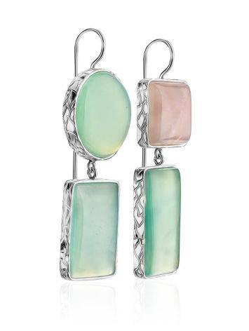 Асимметричные серьги Bella Terra из серебра и природных самоцветов, фото