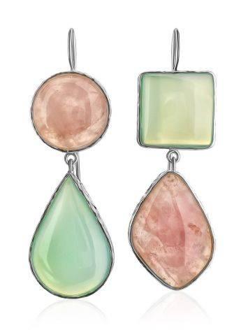 Красивые серьги из серебра и камней в геометрическом дизайне Bella Terra, фото , изображение 3