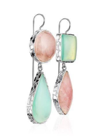 Красивые серьги из серебра и камней в геометрическом дизайне Bella Terra, фото