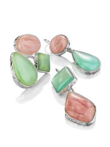 Красивые серьги из серебра и камней в геометрическом дизайне Bella Terra, фото , изображение 5