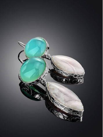 Объемные серьги-крючки из серебра с арагонитом и халцедоном Bella Terra, фото , изображение 2
