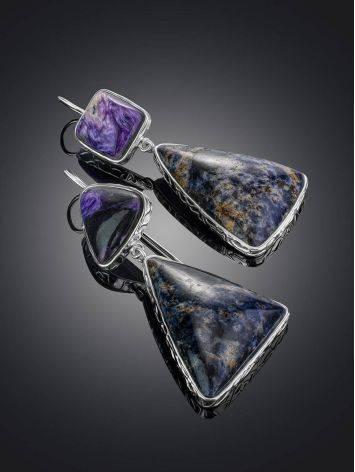 Необычные яркие серьги Bella Terra с чароитом и содалитом, фото , изображение 2