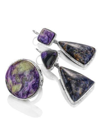 Необычные яркие серьги Bella Terra с чароитом и содалитом, фото , изображение 5