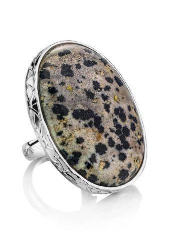 Эффектное кольцо с овальной вставкой из живописной далматиновой яшмы Bella Terra, Размер кольца: 18, фото