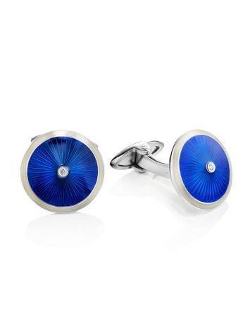 Серебряные запонки с синей эмалью гильош «Наследие», фото