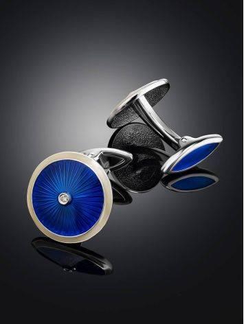 Серебряные запонки с синей эмалью гильош «Наследие», фото , изображение 2