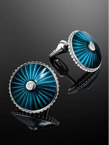 Серебряные серьги-гвоздики с эмалью и бриллиантами «Наследие», фото , изображение 2